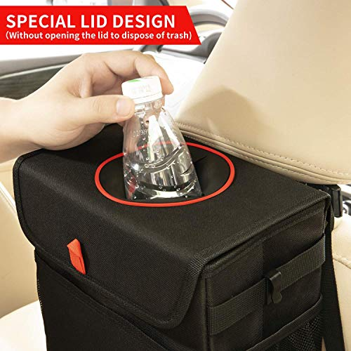 QUARKACE Car Trash Can, Leakproof Car Garbage Can with Lid, Collapsible Car Trash Container with a Removable Liner