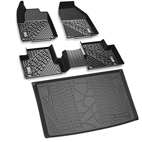 3W Floor Mats&Cargo Liner for Jeep Renegade (2015-2019) Full Set Heavy Duty Protection Custom Fit Floor Carpet&Trunk Mat All Weather Odorless TPE, Black