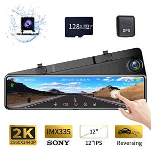 "Karsuite M9 12"" Mirror Dash Cam 2560x1440P Backup Camera with GPS Touch Screen Front and Rear View Dual Lens Full HD WDR Night Vision, G-Sensor (Free 128GB SD Card Included) for Cars/Trucks"