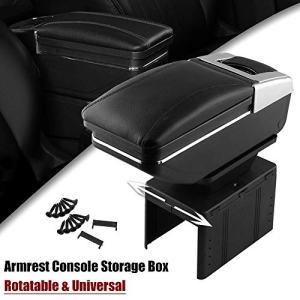 Sporacingrts Universal Car Armrest Console Storage Box Rotatable Black Leather Center Box