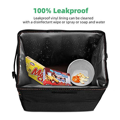 Garbage Bag with Lid and Storage Pockets Hanging Caferria Car Trash Can Garbage Bag with Lid and Storage Pockets Hanging Car Garbage Bag Collapsible Portable Leak-Proof Vinyl Inside Lining