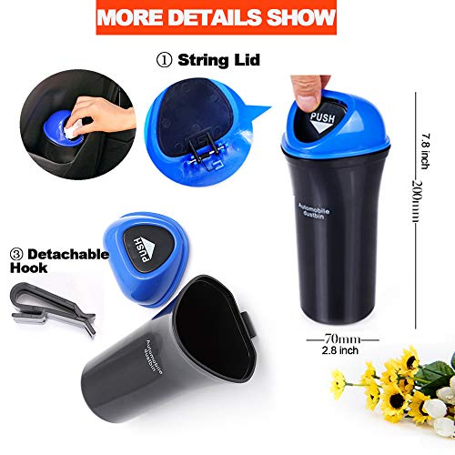 Small Car Trash Bin Hanging Portable Auto Vehicle Car Car Trash Can Small Car Trash Bin Hanging Portable Auto Vehicle Car Garbage Can Bin Trash Container Waste Storage Fits Cup Holder Door Pocket Home Office Use