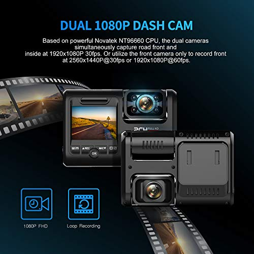 Pruveeo D30H Dash Cam with Infrared Night Vision and WiFi Pruveeo D30H Dash Cam with Infrared Night Vision and WiFi, Dual 1080P Front and Inside, Dash Camera for Cars Truck Taxi