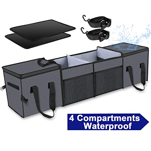 X-cosrack Car Trunk Organizer,Storage with Insulation Cooler Bags for SUV,Truck,Automotive,Van,Cargo Collapsible Portable Multi Compartments with Straps, 4 Compartments Convertible, Washable