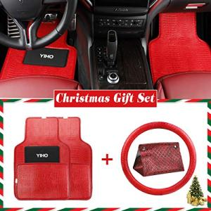 YIHO 6-pcs Set of Car Front & Rear Seat Floor Mats & Steering Wheel Cover & Vehicle Tissue Box for All Weather Protection Fits of Universal Auto Vehicle SUV Truck Van - Red Leatherette Interiors