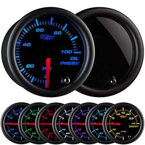 "GlowShift Tinted 7 Color 100 PSI Oil Pressure Gauge Kit - Includes Electronic Sensor - Black Dial - Smoked Lens - For Car & Truck - 2-1/16"" 52mm"