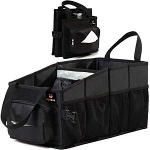 FoxBoxUsa Tote Car Organizer Front Seat with Tissue Box & Cup Holder | Back Seat Car Organizer Between Seats | Passenger Seat Floor Organizer Under Seat | Backseat Police Storage Container
