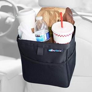 MyTidyCar Car Trash Can - Hanging Wastebasket & Auto Garbage Bag - Portable Waste Container with Lid and Waterproof Lining - Large 3 Gallon Capacity