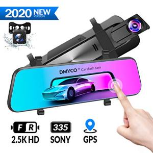 DMYCO 10'' 2.5K Mirror Dash Cam Backup Camera for Cars [GPS Version],Front and Rear View Dual Lens,Super Night Vision,Anti Glare IPS Touch Screen