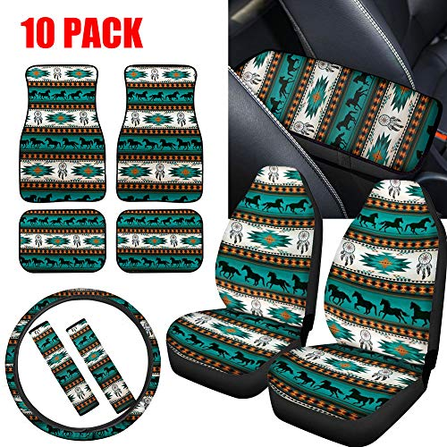 NDISTIN Turquoise Aztec Horse Car Seat Covers Front Seat Only Full Set of 10PC Combo with Floor Mats,Armrest Cushion,Steering Wheel Cover,Seat Belt Pads Universal Fit for Most Car Truck SUV,Vans