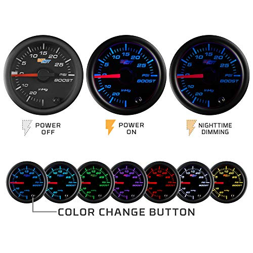 "GlowShift Black 7 Color 100 PSI Oil Pressure Gauge Kit    GlowShift Black 7 Color Oil Pressure Gauge Reads Car's Oil Pressure Ranges from Zero to 100 PSI 2-1/16"" (52mm) Diameter with Black Dial, Illuminated Crimson Needle & Clear Lens Electronic Oil PSI Gauge Includes 1/8-27 NPT Sensor, 9' Sensor Harness, 2' Energy Harness, Gauge Visor, Mounting {Hardware} & Set up Directions 7 Strong Color Modes & 2 Color Cycle Modes Enable You to Match Your Manufacturing unit Dashboard Lights or Add a Customized Model to the Inside of Your Car - Colours Embrace Blue, Crimson, Inexperienced, Teal, Purple, White & Yellow GlowShift Assure with One Yr Restricted Guarantee & Free Lifetime Technical Assist   Overview GlowShift's Black 7 Color Collection Oil Pressure Gauge reads from Zero to 100PSI and means that you can simply monitor your autos oil stress, guaranteeing your bearings, crankshaft, and different important engine elements keep correctly lubricated.</p> <p>Gauge Options This oil stress gauge options an illuminated pink needle that sweeps 270 levels that's powered by stepper motor expertise, you'll be able to relaxation assured that your gauge readings shall be extraordinarily clean and correct. This gauge additionally options a simple to learn magnified lens and 7 coloration via dial LED lighting that allows you to match your manufacturing facility sprint lights or add a customized look to your inside. Our 7 coloration via dial LED lighting system lets the person simply cycle via 7 strong coloration modes, together with 2 coloration cycle modes, and for simpler night time driving the LEDs might be dimmed 30% when linked to your manufacturing facility headlight swap. With the included coloration reminiscence recall characteristic you needn't fear about adjusting the colour of your gauge each time you flip in your car. Included with this oil stress gauge is a 1/eighth NPT digital oil stress sensor that may precisely learn your autos oil stress from 0-100PSI, and might be put in by buying both GlowShift's Oil Filter Sandwich Adapter or t-becoming.</p> <p>GlowShift Black 7 Color 100 PSI Oil Pressure Gauge Kit - Includes Electronic Sensor - Black Dial - Clear Lens - for Car & Truck - 2-1/16"" 52mm"