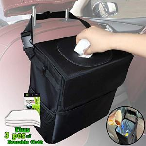 CARBONLAND Car-Trash-Can Leakproof Hanging Garbage Bag with 3pcs Cleaning Cloth