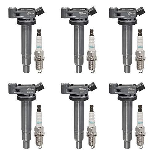 Vplus Set of 6 Ignition Coils Pack UF267 & Spark Plugs Platinum