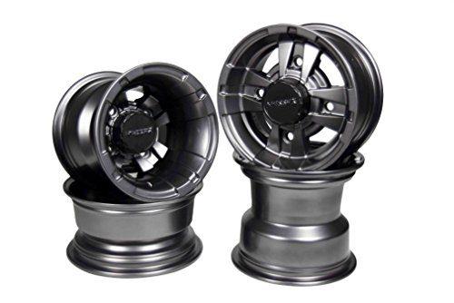 """Front 10"""" & Rear 9"""" Rim Gun Metal 10x5 4/144 & 9x8 4/110 Wheels"""