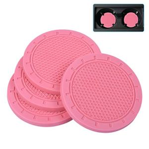Car Coasters, Wisdompro 4 Pack PVC Car Cup Holder Insert Coaster