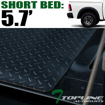 Topline Autopart Black Rubber Diamond Plate Truck Bed
