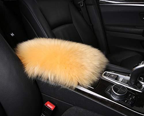 Furry Armrest Cover for Car, Real Sheepskin Wool Fur Soft