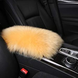 Furry Armrest Cover for Car, Real Sheepskin Wool Fur Soft