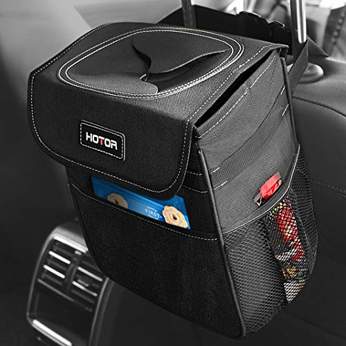 HOTOR Car Trash Can with Lid and Storage Pockets