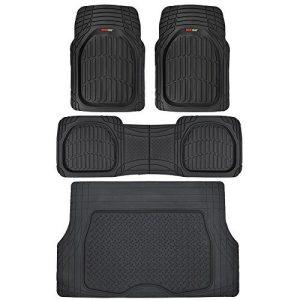 All Weather Heavy Duty Floor Protection Black Car Floor Mats Set