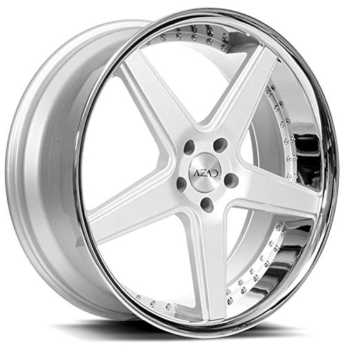 Set of 4 Silver Brushed with Chrome Lip Wheels For Challenger, Charger, Mustang