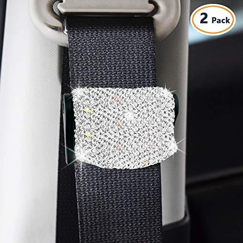 2Pcs Bling Car Seat Belt Clips, Handmade White
