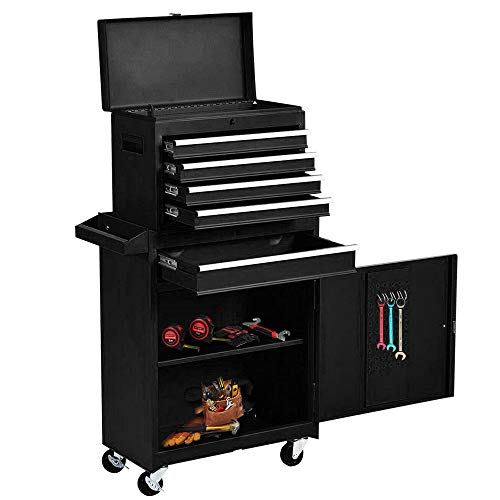 Rolling Tool Chest, High Capacity Detachable Tool Box with 4 wheels