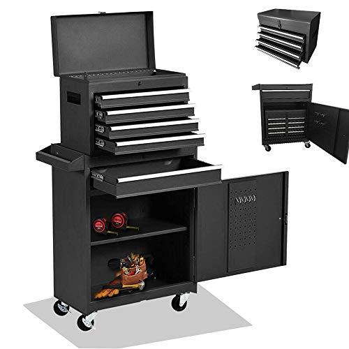 5-Drawer Tool Chest Tool Box, 4 Wheels Tool Storage Cabinet
