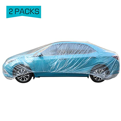 PAMASE 2 Set of Thicken PE Plastic Car Cover