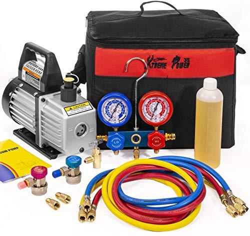 Refrigeration Kit AC Manifold Gauge Air Vacuum Pump HVAC