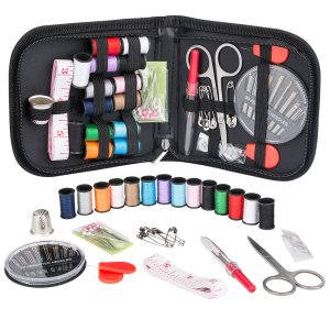 Sewing Kit for Traveler Organizer Filled with Scissors, Thimble