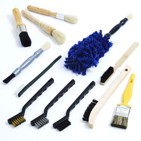 Pro-grade Auto Detailing Brush Kit 12 Pack.
