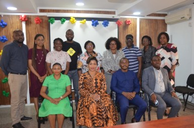MR FEMI TAIWO (2nd from right sitting) LEAD TEAM, LEAP AFRICA, ON A COURTESY VISIT TO DG OEQA MRS ABIOLA SERIKI-AYENI