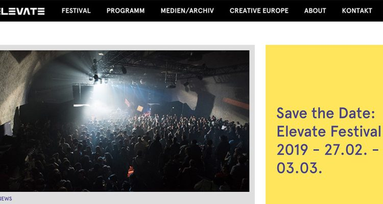 A screenshot of the Elevate festival website.