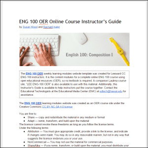 Screenshot of the ENG 100 OER Instructor's Guide