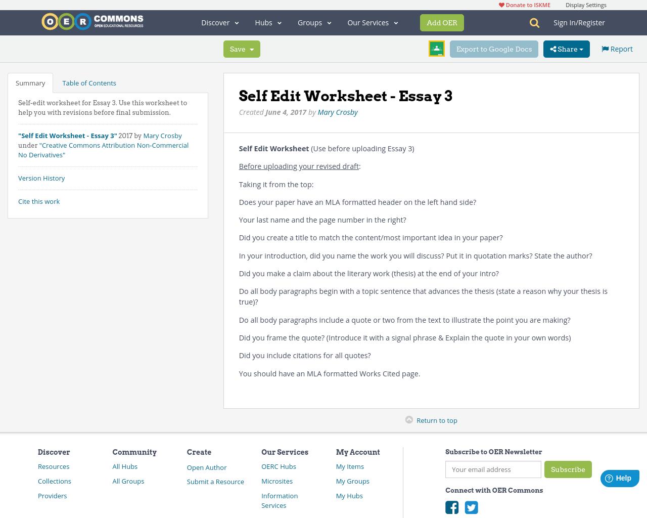Self Edit Worksheet