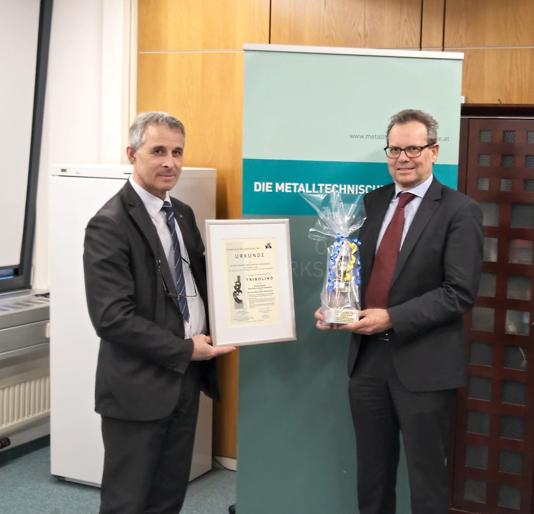 Ehrenpreis der ÖTG – TRIBOLINO 2019 Verliehen an den Fachverband Metalltechnische Industrie
