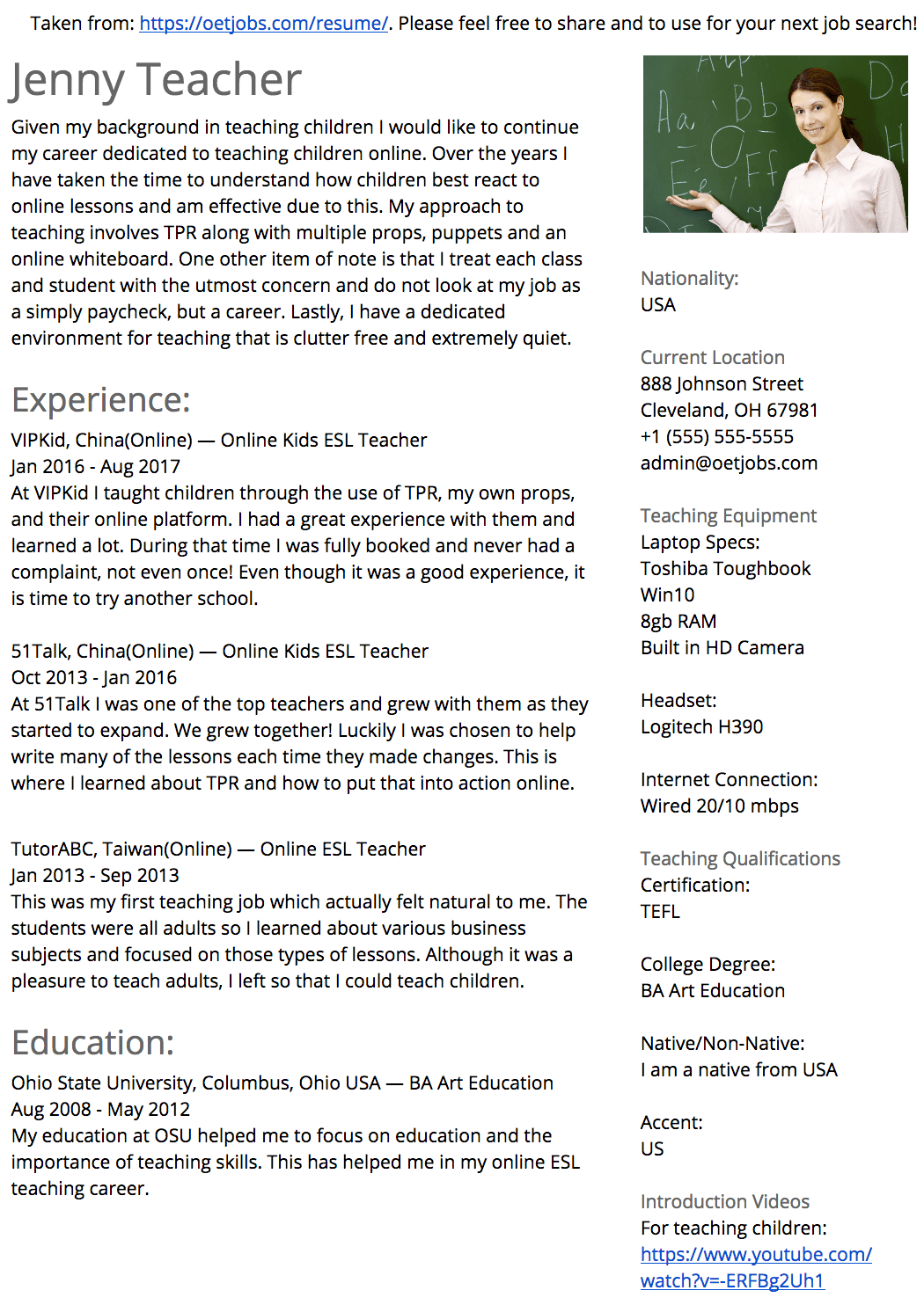 English Teacher Resume Changing Careers - Manual Guide Example 2018 •