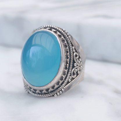 ring blauw chalcedoon