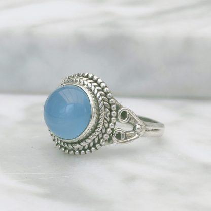Ring blauwe chalcedoon
