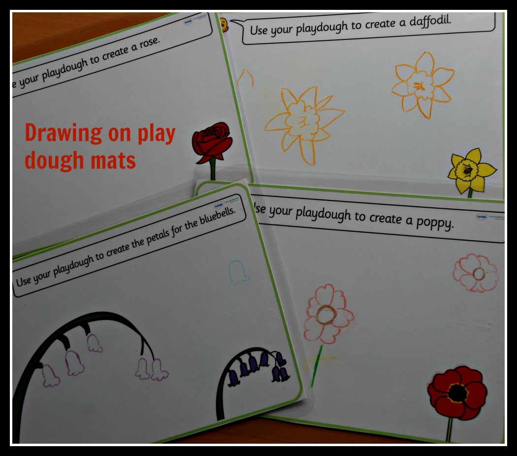 Flower Drawing Using Free Twinkl Play Dough Mats