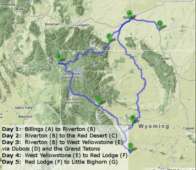Billings to Riverton to the Red Desert, West Yellowstone, over the Beartooth and back to Billings