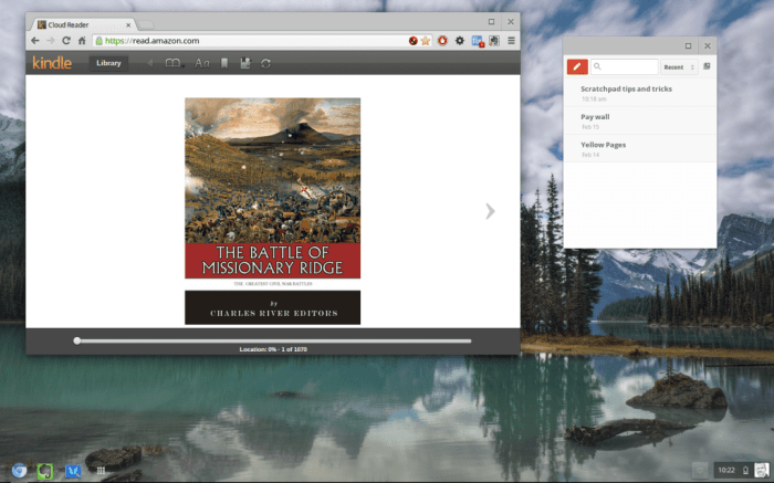 This screenshot is of my extended display in Chromium OS.  I have the Google Scratchpad extension open as well as the Kindle Cloud reader.