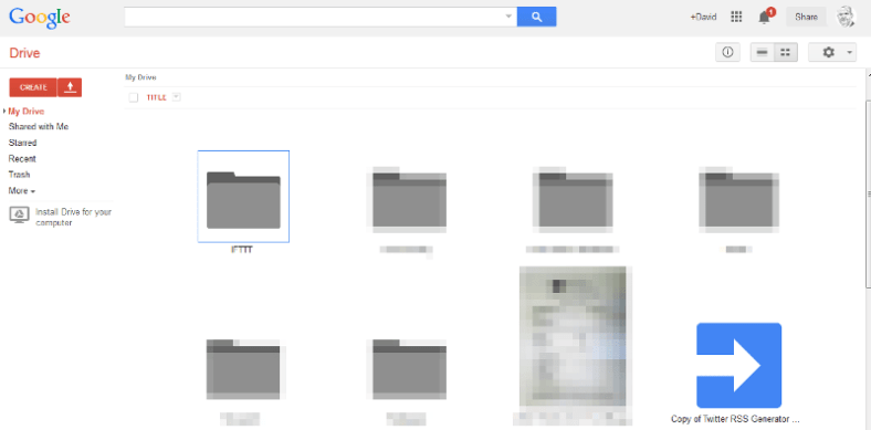 Google Drive account showing icons for IFTTT and RSS script