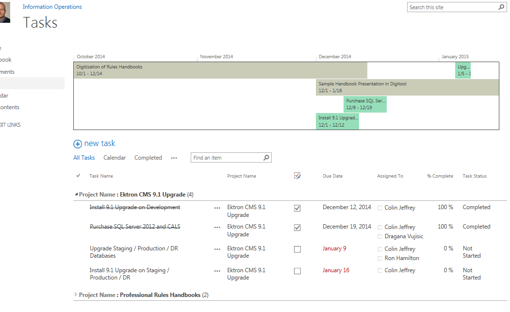 A Project Timeline Dashboard in SharePoint 2013 | David Whelan