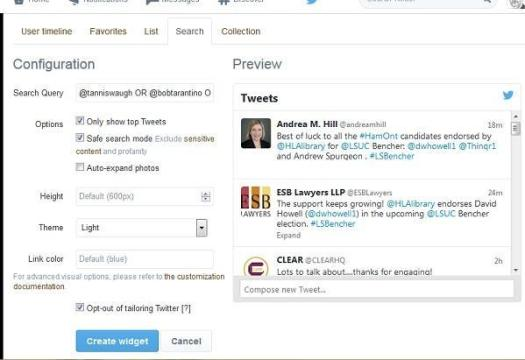 Setting up a Twitter widget based on a search, that you can reuse through other services.