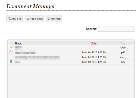 """A folder and three uploaded files in Smarty Pants Project and Document Manager WordPress plugin.  I named the page """"Document Manager"""" but you can call it anything."""