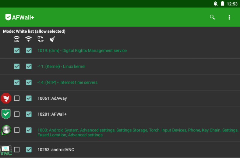Open source firewall app for Android AFWall+ list of white listed apps