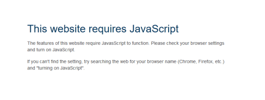 A javascript error message screenshot from BestBuy.ca to show the site has detected javascript blocking