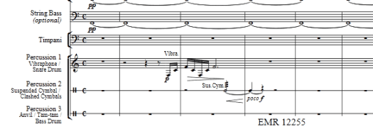 Screenshot of the bottom corner of page 1 of the music score for Trinity Infinity